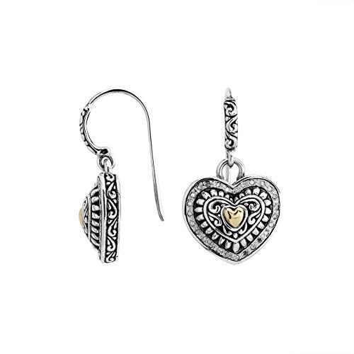 Pendiente De Plata De Ley Con Oro De 18 Quilates Y Diamante AEG-8041-DY