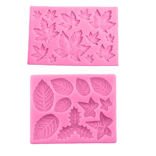 Joinor 2pcs DIY Maple Leaf Silicone Cupcake Baking Molds Fondant Cake Decorating Tools Gumpaste Chocolate Candy Clay Moulds