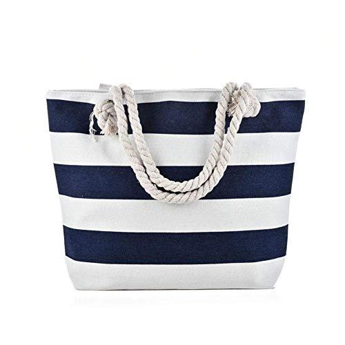 MZH Große Umhängetasche aus Segeltuch - Strandtasche mit Baumwollseilgriffen