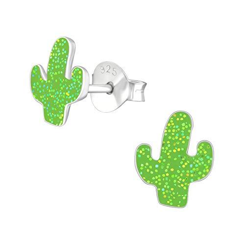 Monkimau Pendientes de tuerca de plata de ley 925 con forma de cactus