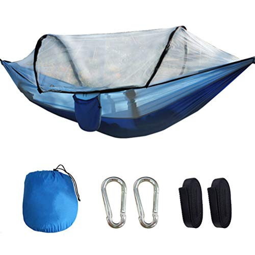 HERAHQ Camping Hammock with Automatic Open Mosquito/Bug Stand Net, Portable 2 Person Tent Swing Bed, for Backpacking Travel Beach Backyard Patio Hiking,Blue