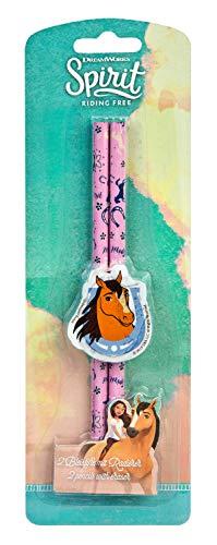 Undercover SIIT0155 Schreibset mit 2 Bleistiften und Radierer, DreamWorks Spirit, blau-pink