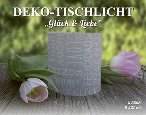 MarpaJansen 486.100-00 decoratief transparant papier geluk & liefde tafellampen, papier, grijs, 9 x 27 cm