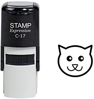 StampExpression - Cartoon Cat Head Self Inking Rubber Stamp - Black Ink (A-6496)