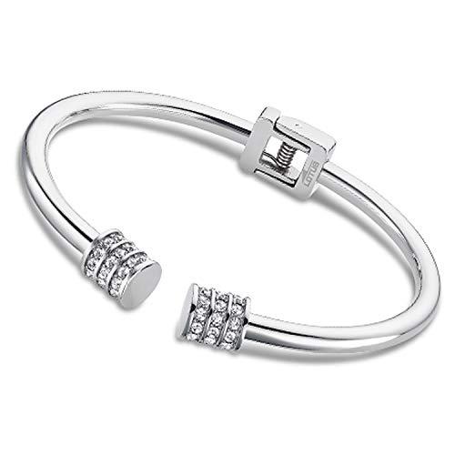 Lotus Bracelet jonc Collection Bliss Acier et pierres Blanches