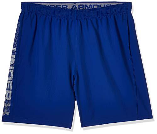 Under Armour Woven Graphic Wordmark Shorts Pantalones de hombre, pantalón corto ultraligero y transpirable, cómodo y ancho pantalón de deporte, Royal/Steel (400), SM