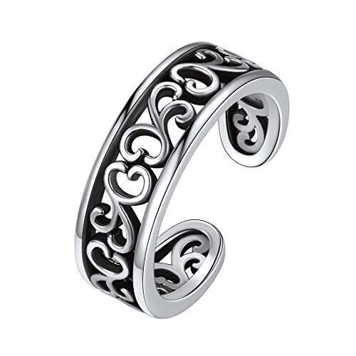 925 Sterling Silver Toe Ring for Women Teen Girls, Flower Hawaiian Leaf Adjustable Celtic Knot Band Tail Ring