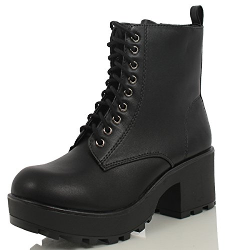 Soda Women's Magpie Faux Leather Lace-Up Combat Mid Heel Military Ankle Boots,Black,8.5