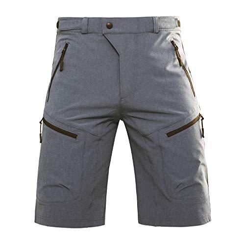 Hiauspor Mens Mountain Bike Baggy MTB Loose Fit Biking Cycling Shorts with Pockets, Grey, L