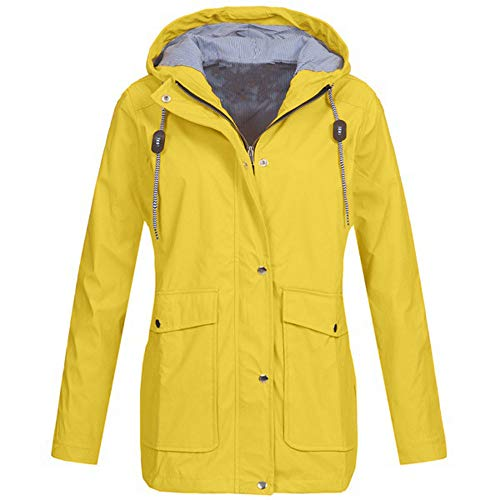 OverDose Damen Winter Sport Style Solide Regenjacke Outdoor Plus Jacken Wasserdichter Regenmantel mit Kapuze Windproof Light Funktionsjacke Open Jacke (Gelb,EU-42/CN-XL)