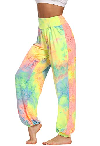 FITTOO Womens Harem Pants Tie Dye Hippie Boho Lounge Bohemia Yoga Pants Yellow L