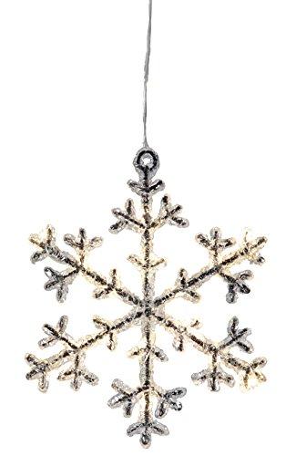 "LED-Acryl-Schneeflocke ""Icy Star"", 16 warm white LED,  ca. 18 x 16 cm, schwarz / klar Timer, batteriebetrieben"