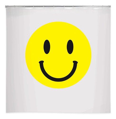 Kikkerland Duschvorhang mit Smiley-Gesicht, 183 x 183 cm