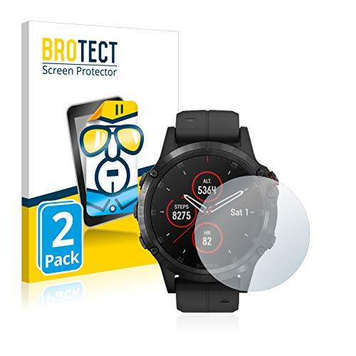 BROTECT Schutzfolie kompatibel mit Garmin Fenix 5 Plus (47 mm) (2 Stück) klare Bildschirmschutz-Folie