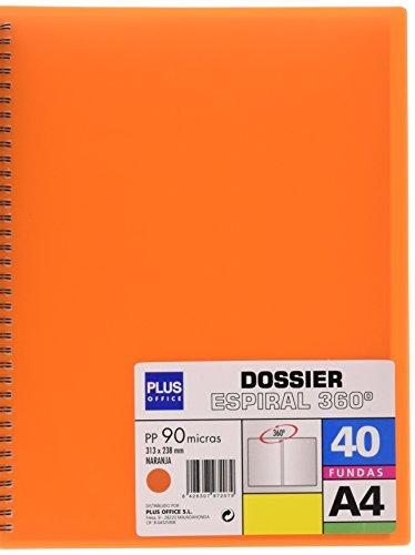 Plus 13461-40 ufficio o a spirale, con buste, formato A4, 40 tasche, colore: arancione