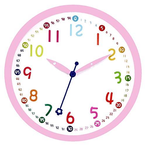 Foxtop Rosa Kinder Wanduhr Silent Non-Ticking Batteriebetriebene dekorative Uhr für Kinder Mädchen Kinderzimmer Schlafzimmer Schule Klassenzimmer - Einfach zu lesen (12 Zoll/30cm)