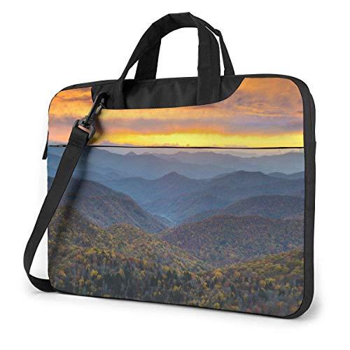 Laptop Shoulder Bag Blue Ridge Parkway Mountains Printed Shockproof Laptop Shoulder Backpack Bag Briefcase 15.6 Inch