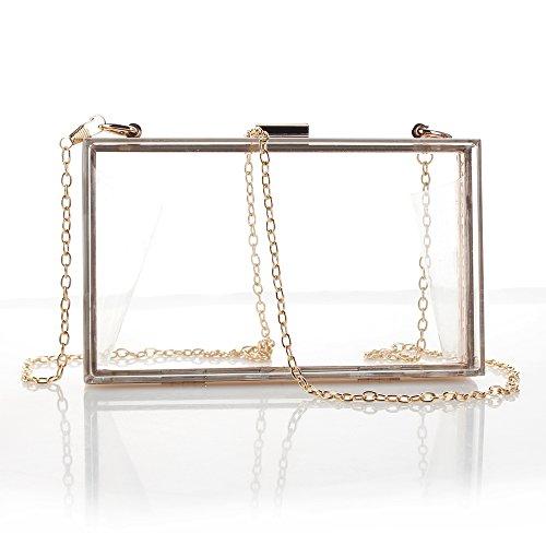 Zazero catena da donna in acrilico box Hand Holding Small Fresh and Simple Transparent piccola borsa piazza, Transparent (flat chain)