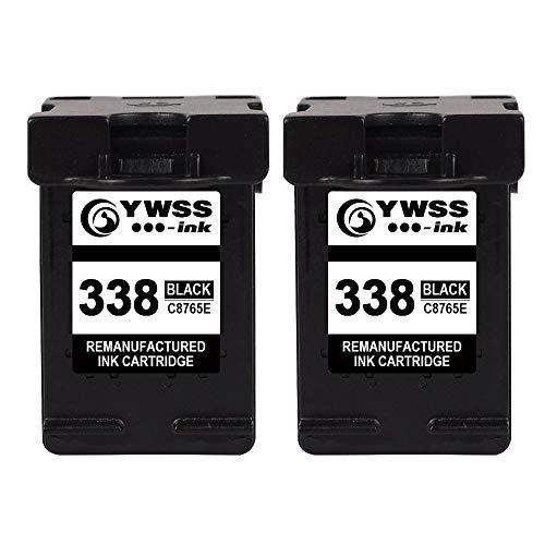 YWSS Remanufacturado Cartucho de Tinta para HP 338 HP338 Alto Rendimiento Cartucho de Tinta (2 Negro) C8765E para HP DeskJet 460/5740/6540/6620/6840/9800/6540 6540D 5740