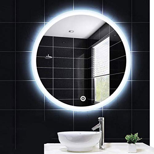 XQAQX Espejo de Baño Espejo Maquillaje Espejo de tocador Espejo retrovisor Iluminado Redondo del Maquillaje del Espejo del Cuarto de baño con Control de Tacto del Sensor antiniebla