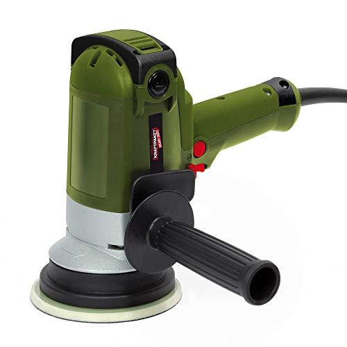Dino KRAFTPAKET Heavy Duty 8mm-900W Vertikal Exzenter Poliermaschine mit Zwangsrotation und 2 X Stützteller 125mm, 6m weichem Kabel für Auto KFZ Boot