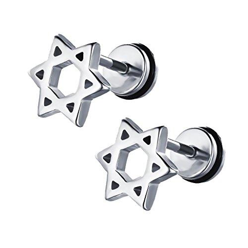 joyMerit Pendientes de Botón de Acero Inoxidable con Forma de , Regalo de Joyería para Hombre Y Mujer - Plata
