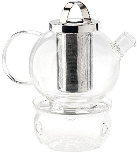 Cucina di Modena Teekanne: Tee-Set aus Glaskanne (1,5 l) mit Edelstahl-Sieb und Stövchen (Teekanne mit Stövchen)