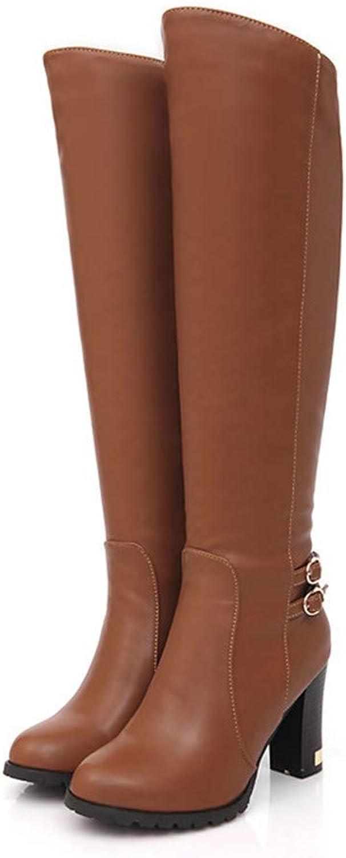 Herbst und Winter große Lederstiefel mit dicken dicken dicken Kniestiefeln Stiefeletten für Damen  3564b4