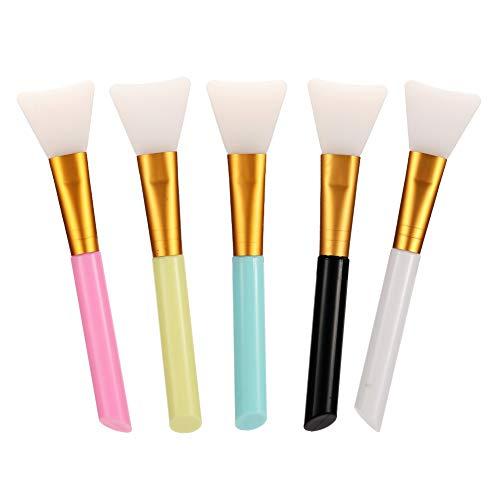Girls'love talk Gesichtsmaske Pinsel, 5 Stück Silikon Schlammmasken Bürste, Haarloser Gesichtsmask Pinsel Set, Kosmetik Makeen Pinsel für die Gesichtsmasken, Augenmasken, Serum oder DIY