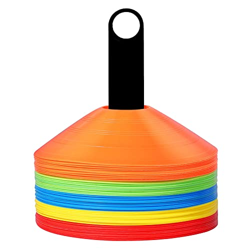 KUYOU マーカーコーン トレーニングコーン マーカーディスク ディスクコーン コンパクト サッカー 野球 テニス フットサル ボールスポーツ 練習 陸上競技 運動会 フットサル用品 収納袋付き 5色 25枚セット