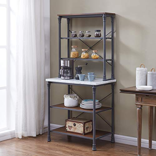 Rustic Gray with Distressed Pine Bakers Rack Black Brown Grey Iron MDF Marble