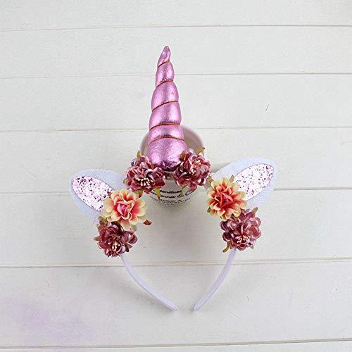 Cintas de Pelo para Mujer, Rosa Diadema Unicornio Infantil Bebé Flor