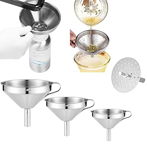 Embudo de filtración de acero inoxidable para cocina, embudo de acero inoxidable con colador extraíble para uso en la cocina, perfecto para transferir líquidos, aceites (3pcs)