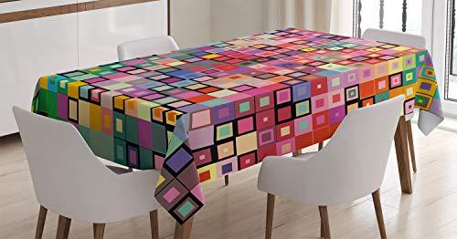 ABAKUHAUS Moderno Mantele, Diseño de Color Moderna, Estampado con la Última Tecnología Lavable Colores Firmes, 140 x 170 cm, Multicolor