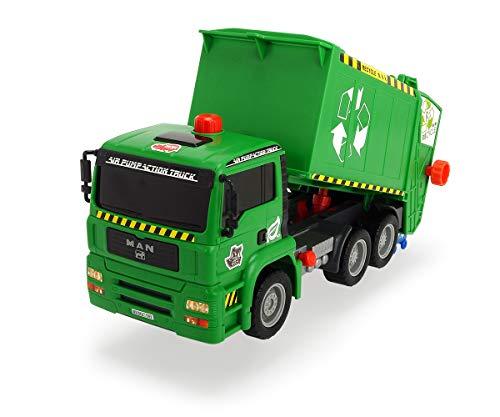 Dickie Toys Air Pump Garbage Truck, Müllabfuhr mit Luftpumpfunktion, Müllauto, Recycling, pneumatisch beweglicher Container, 31 cm, ab 4 Jahren