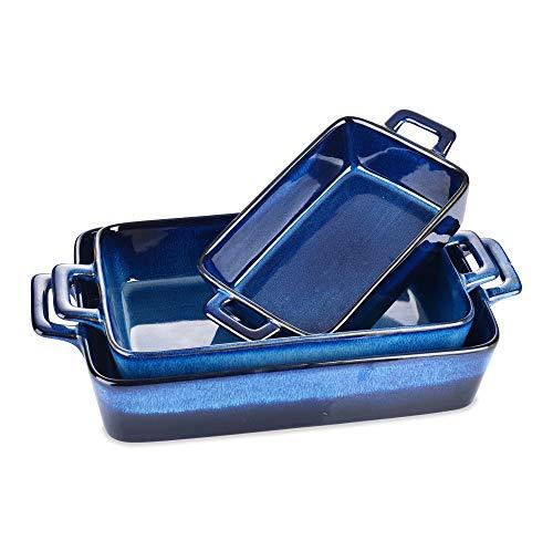Auflaufform Set, vancasso GLIMMER Serie 3 teilige Ofenform aus Steingut, Backform, Glasur blau, 2500ml, 2000ml, 1000ml