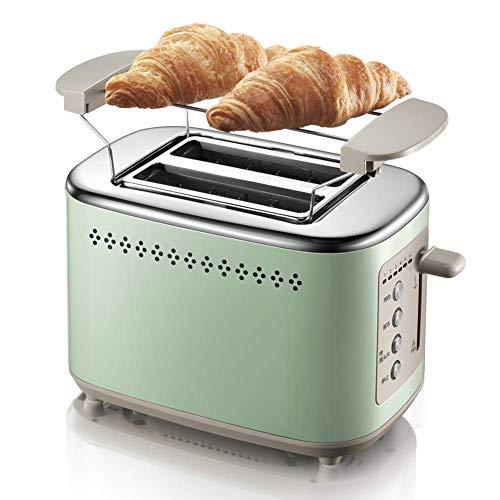 AOIWE Tostadora de 730W para sándwich, Desayuno de Acero Inoxidable Desayuno a la Parrilla Spit Driver con Parrilla y Cubierta de Polvo, Modo de 6 velocidades, horneado de Doble Cara, Verde
