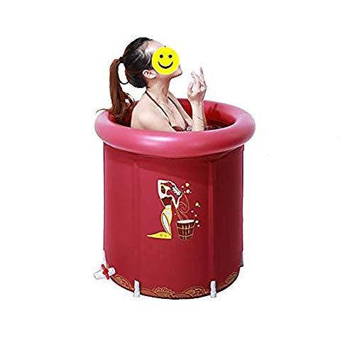 Xiao Jian- Badewanne - Baby , Tragbare Haushaltsbadewanne, aufblasbares Bad zum Verdicken, Faltbare Kunststoffwanne für Kinder, mit Deckel, 65 x 70 cm Badewanne (Color : Red)