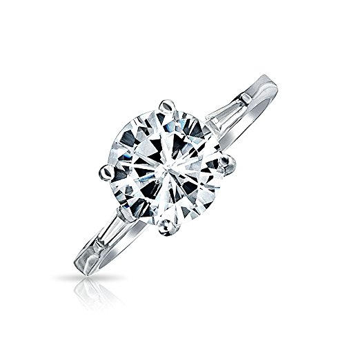 Simple 925 Sterling Silver 3CT Round AAA CZ Solitaire Brilliant Cut Engagement Ring Baguette Side Stones Thin Band