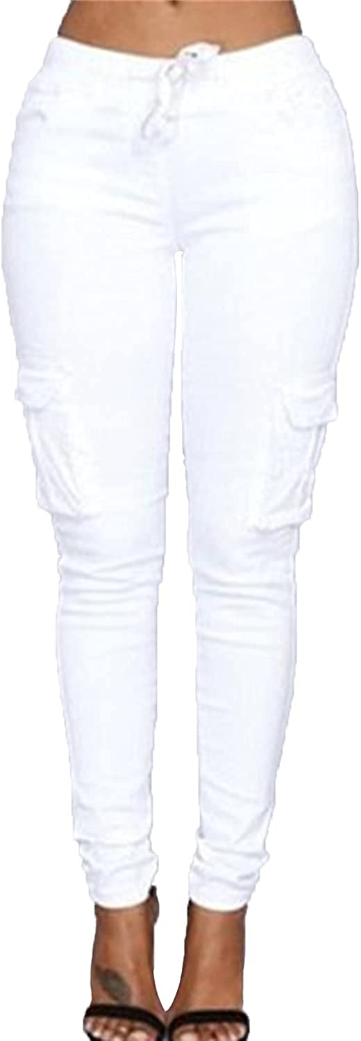 Women's Solid Color Drawstring Skinny Pants Multi Pocket Stretch Cargo Pant Ladies Slim Elastic Waist Casual Trousers (Small,White)