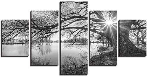 5 piezas cuadro en lienzo Cuadro compuesto por 5 lienzos impresos en HD, utilizados para decoración del hogar y carteles Paisaje en blanco y negro de árboles junto al lago (150x80cm sin marco)