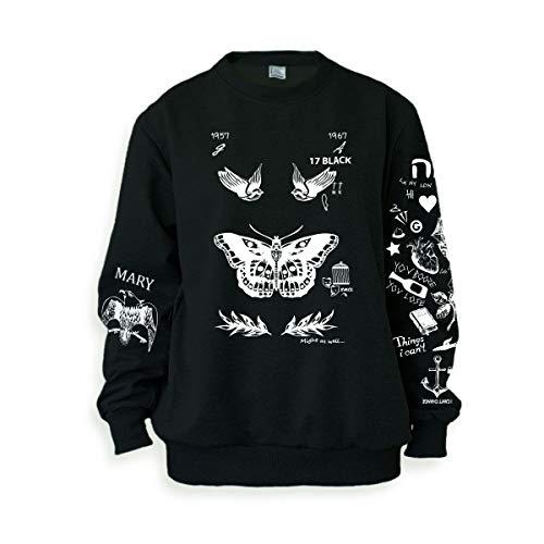 Noonew Damen Schmetterling Tattoos Sweatshirt Sweater Pullover Pullover Schwarz Shirt - Schwarz - X-Large