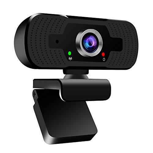 Webcam 1080P, USB Webcam Autofokus mit Objektivdeckel, PC Kamera mit Stereo Mikrofon für Skype, Videoanruf, Konferenz, Spiel, Online-Unterricht, Streaming Webcam kaufen für Laptop, Desktop