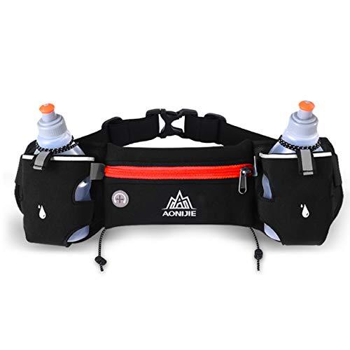 Azarxis Cinturón de Running Ajustable Bolsa de Cintura Deportiva Ligero con 2Pcs Botellas de 250ml para Correr Ciclismo Maratón al Aire Libre