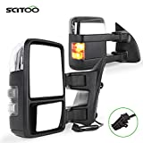SCITOO fit for Ford Towing Mirrors Chrome Rear View Mirrors fit 2008-2016 for Ford F250 F350 F450 F550 Super Duty Truck Larger Glass Power Control, Heated Turn Signal Manual Extending Folding
