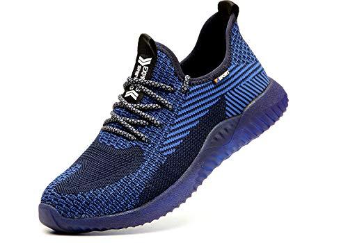 SUADEX Indestructible Steel Toe Shoes Men Work Safety Shoes for Men Women Lightweight Composite Toe Working Shoes Blue Black 13.5 Women/12 Men