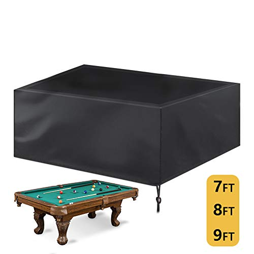 Saking 7/8/9 ft Billiard Pool Table Covers with Drawstring (8FT: 102x53x32in, Black)