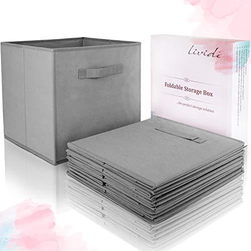 Lividé 6 STÜCK Aufbewahrungsbox in Grau | kompatibel mit IKEA Kallax Regalen | 33cm x 33cm x 33cm | hochwertige Aufbewahrungskiste mit praktischem Griff für mehr Ordnung im Schrank