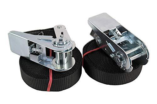 SEPDA 2er Set Spanngurte mit Ratsche/ 6m x 25mm /schwarz/nach Europäischer Norm