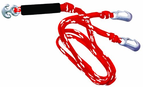 WOW World of Watersports Red/White Heavy Duty 1 2 3 or 4 Person 4K Tow Harness Rope for Boating, 11-3030